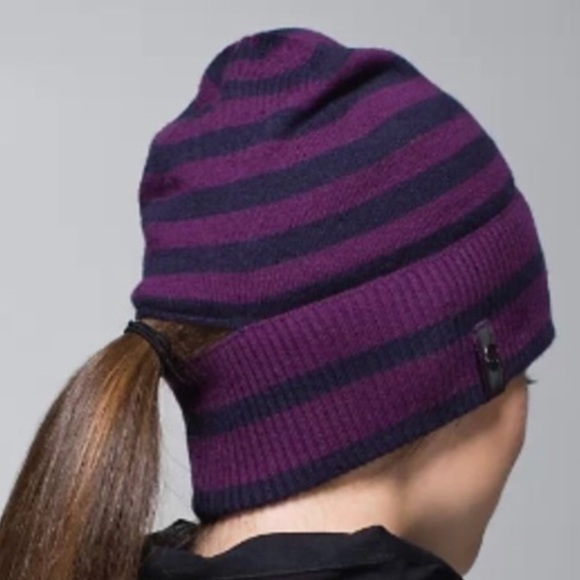 4b02d277cf2ae lululemon athletica Accessories - Worn only once Lululemon striped pony  tail beanie